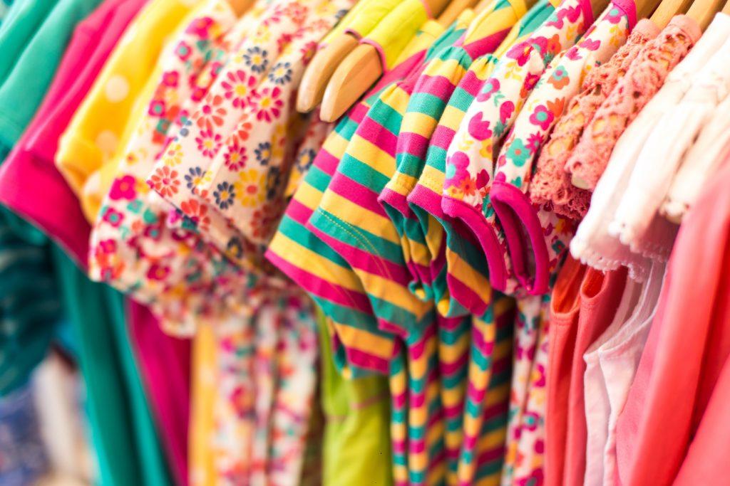 colorful shirts on rack