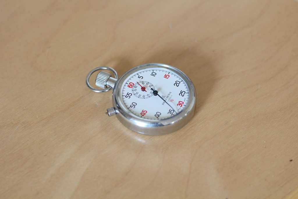 classic chrome stopwatch on a table
